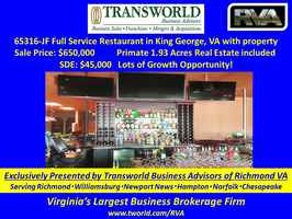 Full Service Restaurant in King George, VA w/RE