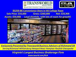 85259-BK Convenience Store in VA College Town - Business for Sale in