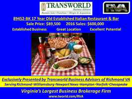 89452-BK 17-Year Old Italian Restaurant Ready