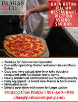 Boca Raton - Fully Equipped Italian Restaurant