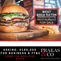 Established West Boca Raton Restaurant For Sale
