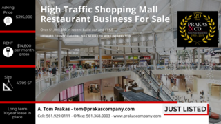 High Traffic Shopping Mall Restaurant FOR SALE